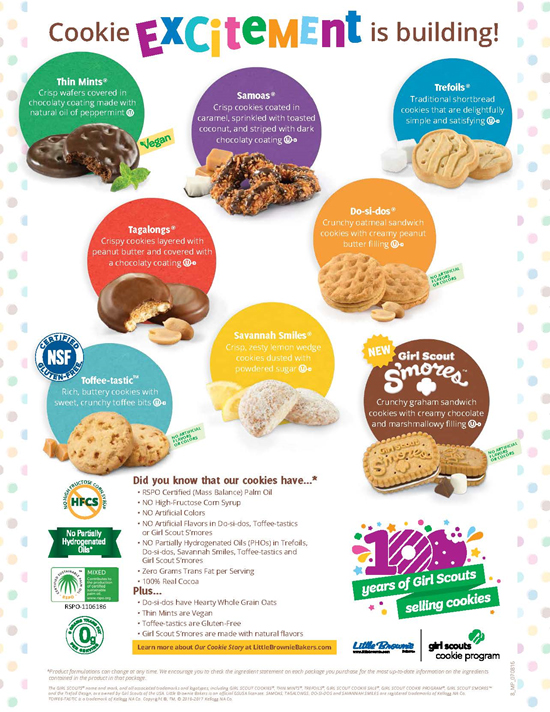 girl scout cookies 2017 flavors